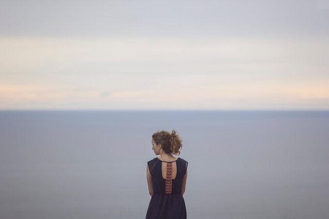 woman in front of sea