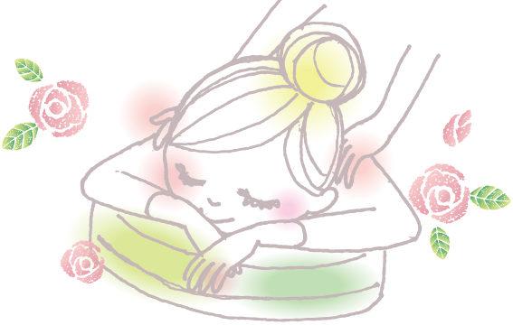 リラクゼーションマッサージを受ける女性のイラスト